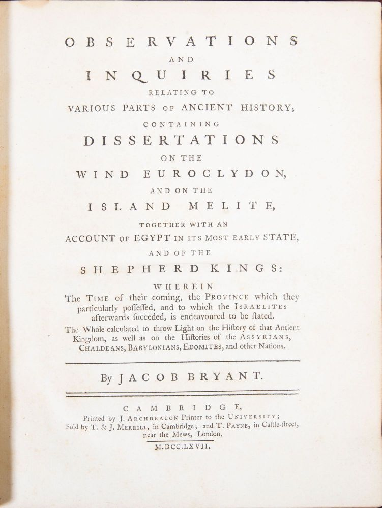 Observations and Inquiries Relating to Various Parts of Ancient History. Jacob Bryant.