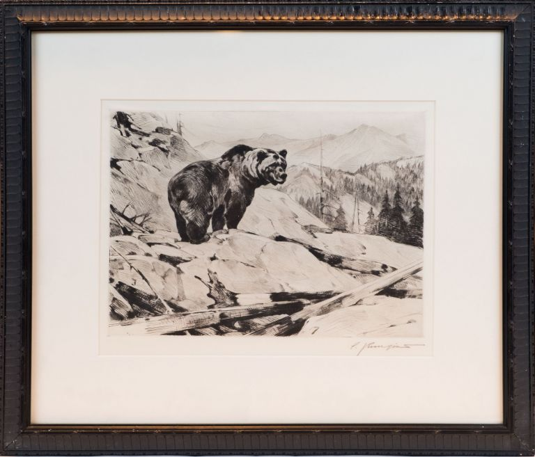 ORIGINAL ETCHING GRIZZLY BEAR. Carl Rungius.