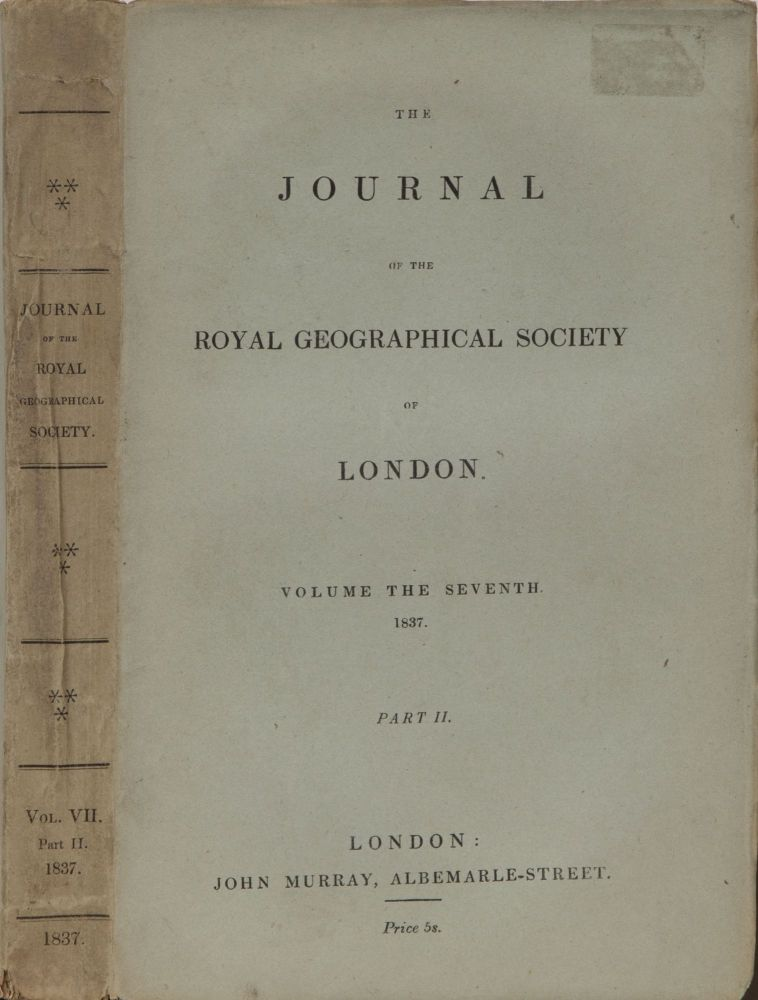 Journal of the Royal Geographical Society of London. Royal Geographical Society.