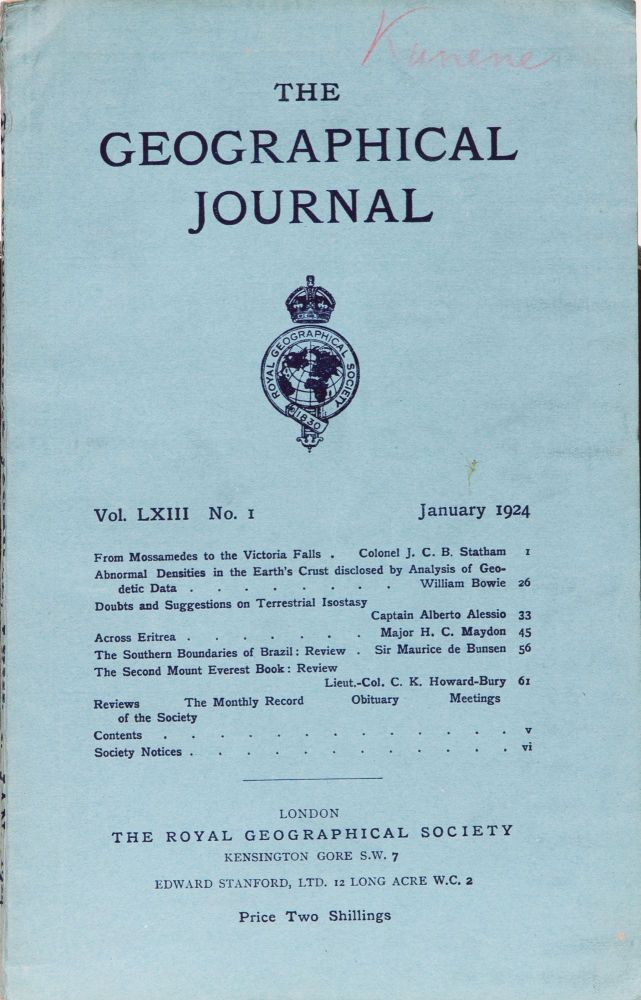 The Geographical Journal. The Royal Geographical Society.