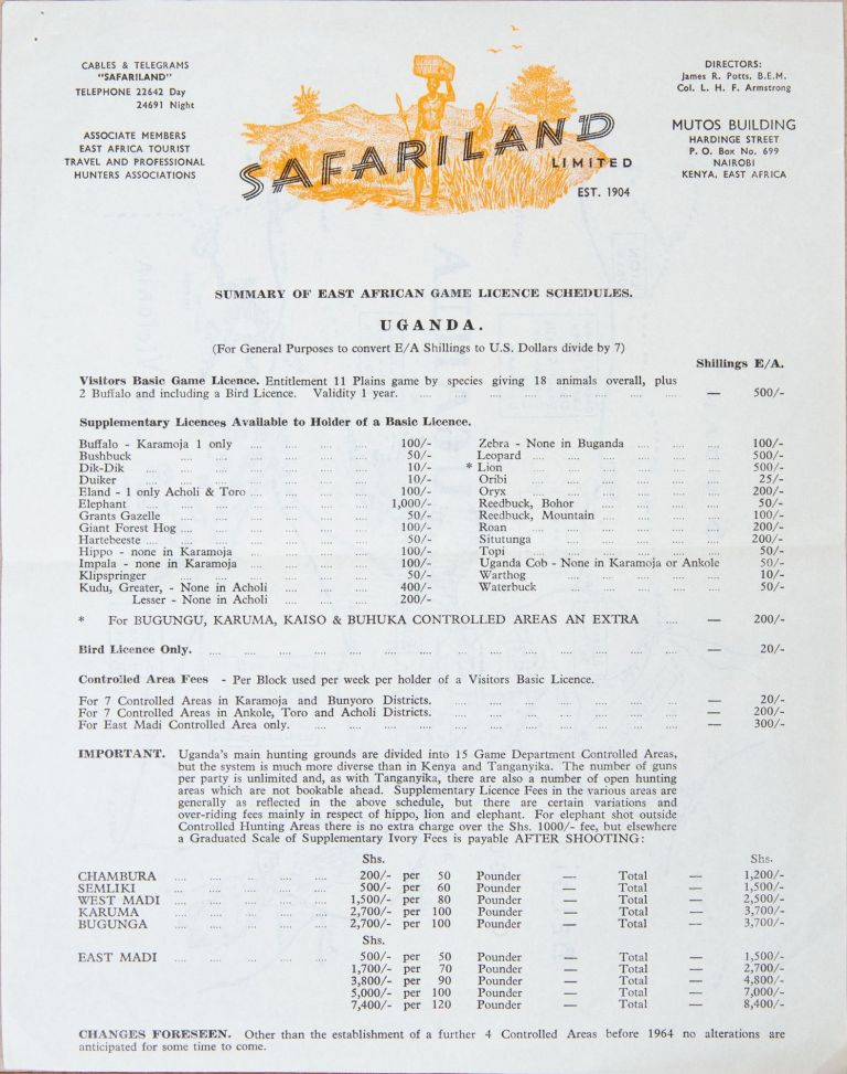 Uganda - Safariland Liimited. Safariland Limited.