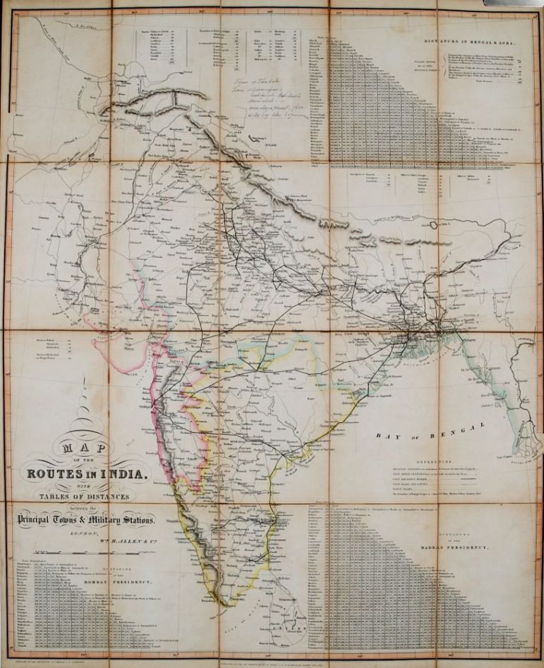 Map of the Routes in India. W. Allen.