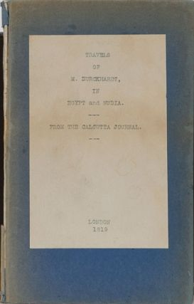 Travels of M Burckhardt in Egypt and Nubia. M. Burckhardt