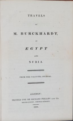 Travels of M Burckhardt in Egypt and Nubia