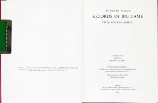 Records of Big Game -14th Ed Africa