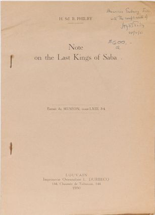 Note on the Last Kings of Saba. H. St John Philby.