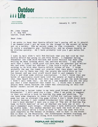 ORIGINAL LETTER. Jack O'Connor