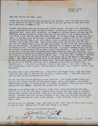 Original Letter. Howard Hill.