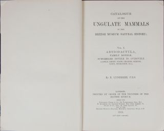 Catalogue of the Ungulate Mammals