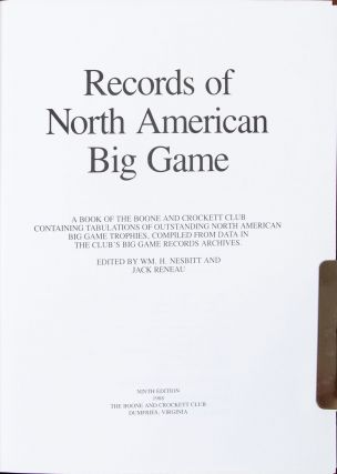 Records of North American Big Game 9th edition 1988