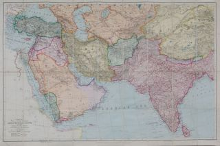 Map of the Countries Between Constaninople and Calcutta Including Turkey in Asia, Persia,...