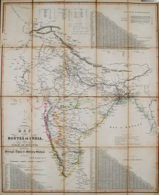 Map of the Routes in India. W. Allen